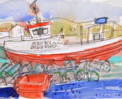 64 Scouller Glen Red Boat Lobster Creels 18X28 550