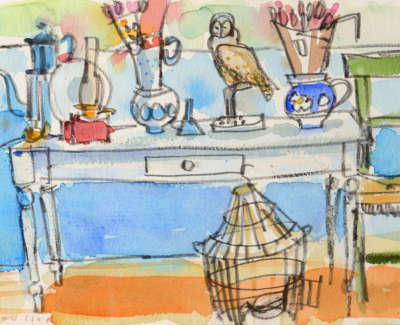 65 Scouller Glen White Still Life Watercolour 18X28 550