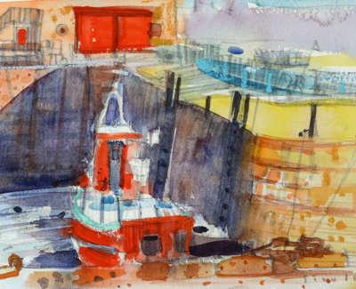 66 Scouller Glen Boat Harbour North Berwick Watercolour 18X28 550