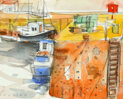 68 Scouller Glen Red Marker St  Monans Watercolour 18X28 550