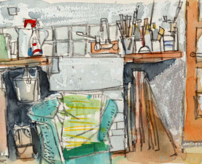 71 Scouller Glen Studio Sink Watercolour 18X28 550