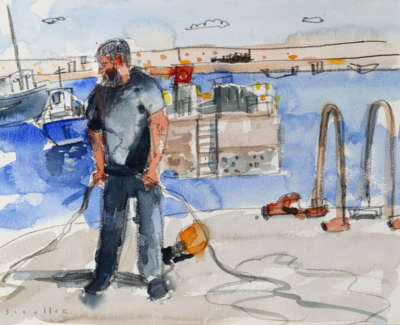 73 Scouller Gln Fisherman East Neuk Watercolour 28X38 800