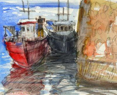 74 Scouller Glen Boatsin Shadow St Monans Watercolour 28X38 800