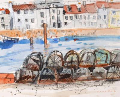 75 Scouller Glen Lobster Creels St Monans Watercolour 28X38 800
