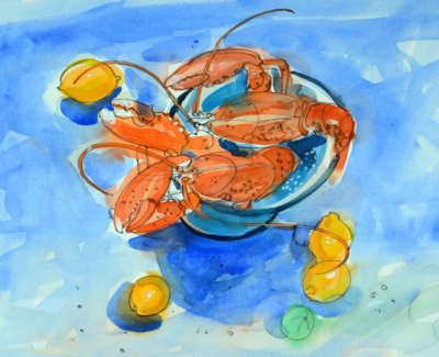 77 Scouller Glen Lobsters Lemonsand Lime Watercolour 53X71 2500