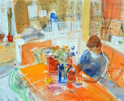 78 Scouller Glen Kitchen Table Little Hill Farm Hurlford Watercolour 53X71 2500