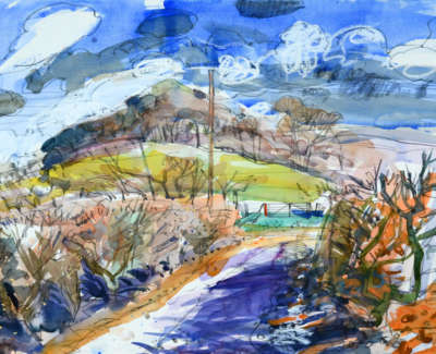 80 Scouller Glen Hedgerowsat Loudounhill Watercolour 53X71 2500