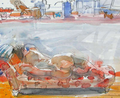 85 Scouller Glen Nudeon Daybed Watercolour 50X70 2500