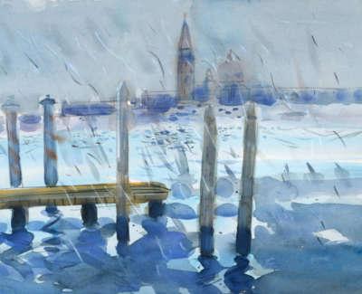 86 Scouller Glen Rain Venice Lagoon Italy Watercolour 53X71 2500
