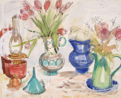 87 Scouller Glen Still Lifewith Anthropologie Jug Watercolour 53X71