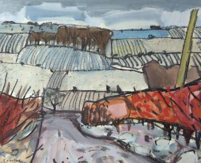 91 Scouller Glen Ploughed Fields Ayrshire Gouache 39X46 1750