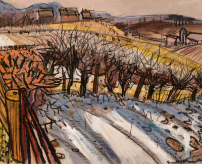 93 Scouller Glen Winter Landscape Ayrshire Crayongouache 46X61 2200
