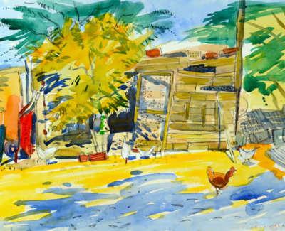 Scouller  G  Henhouse Hortada Raveza Watercolour 50X71