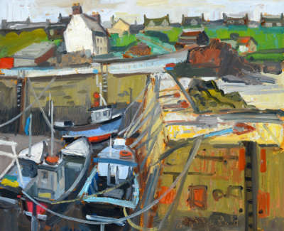 Scouller  G  Tethered Fishing Boats St Abbs Oilonpanel 53X64