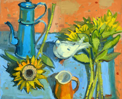 Scouller  G  Vintage Coffee Potand Sunflowers Oilonpanel 84X81