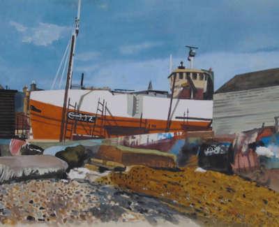 Firth  J  Dockedatthe Harbour Watercolour 33X55