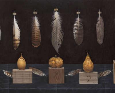 Fairgrieve  J  Dried Gourdsand Feathers Acryliconboard 122X61