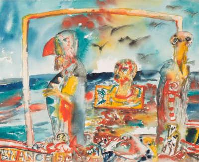 Bellany  J  Penance Watercolour1990 76X56