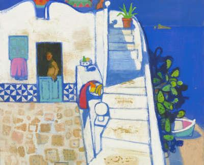 26 Morrocco  L  Stepstothe Terrace Panarea Oiloncanvas 75X85 9250