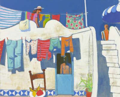 36 Morrocco  L  Drying Clothes Panarea Oiloncanvas90X102  Poa