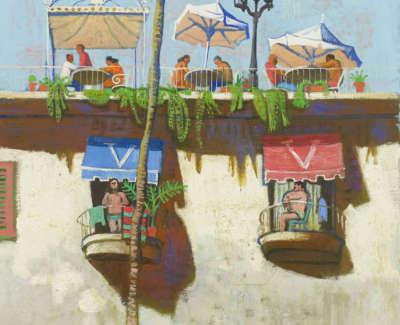 39 Morrocco  L  Hotel Terrace Mallorca Oiloncanvas 85X75  Poa