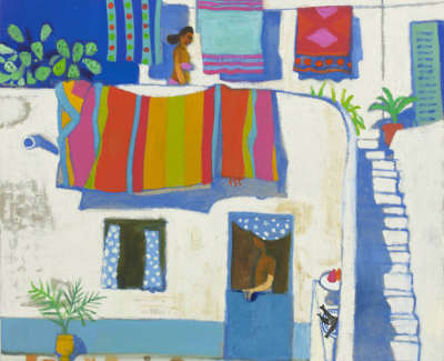 43 Morrocco  L  Amongstthe Washing Oiloncanvas 75X85  Poa