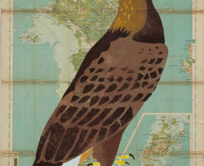 Manning  M  Golden Eagle North Uist Pochoironvintagemap 74X54