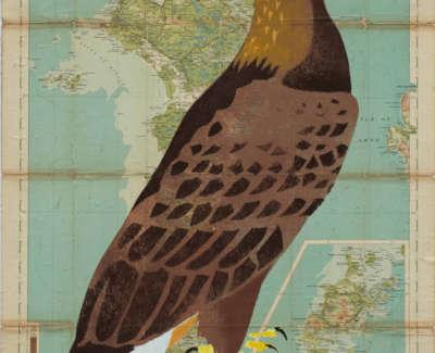 Manning  M  Golden Eagle North Uist Pochoironvintagemap 74X54