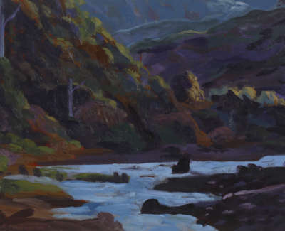 Rob M Last Light High Country River Oilonwood Panel 18X25