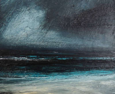 Brownlee  R  Heavy Rain Ahead West Sandwick Mixedmediaonboard 13 5X13 5