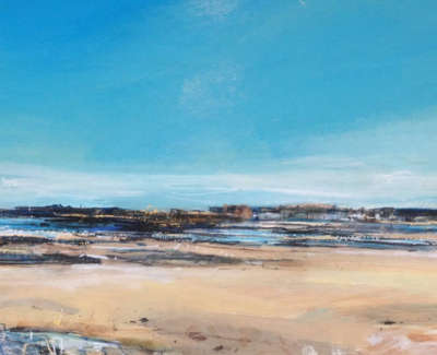 Carrington  S  Low Tide Towards Bass Rock North Berwick 25X59 Mixedmediaandgoldleaf 1000