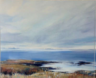 Carrington  S  Spring Lightover Staffaandthe Treshnish Isles Triptych76X186 Acrylicoilandgoldleafoncanvaspanels 3000