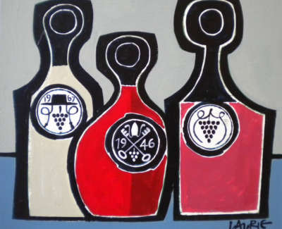 Laurie  S  Three Wines Acryliconboard 23X25 800