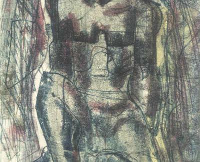 Mccance  W  Improvised Seatedd Figure Monotype1955 22X15 890