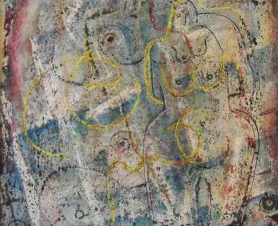Mccance  W  Sculpted Figuresin Space Watercolourandwaxresistonpaper1960 16X16 750