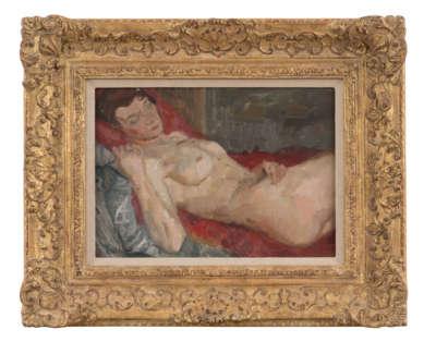 Cree  A  Reclining Nude  Miss Peebles Eca Oilonboard1949 24X34