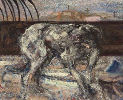 Sir  Robin  Philipson 1916 92  Dog Iii  Pastel1983 23X27